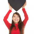 Woman with heart made from paper. — Stock Photo #70912331