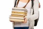 Teenager with backpack and books. — Stockfoto