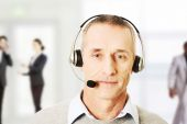 Mature call center man. — Stock Photo