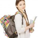 Teenager girl with school backpack. — Stock Photo #74106433