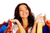 Heureuse femme souriante avec des sacs à provisions. — Photo
