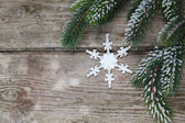 Christmas decorations and fir branches — Stock Photo
