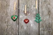 Christmas decorations on a rope — Stock Photo