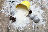 Snow in decorative bucket  — Stock Photo