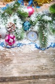 Christmas decorations and clock — Stock Photo
