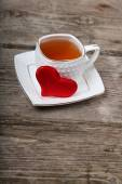 Cup of tea and red heart  — Stock Photo