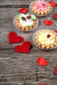 Cakes and red hearts   — Foto de Stock