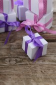 Boxes with gifts — Stock Photo