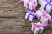 Boxes with gifts tied bows  — Stockfoto