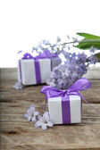 Gift boxes and blue hyacinth — ストック写真