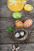 Easter still life with eggs in the nest — Stock Photo