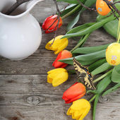 Easter composition with tulips  — Stockfoto