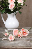 Beautiful pink roses in a white jug   — Stock Photo