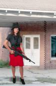 Woman with Assault Rifle — Stock Photo