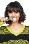 Linda mulher escovando os dentes — Foto Stock