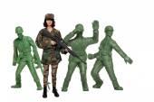 突撃ライフルを持つ女性 — ストック写真