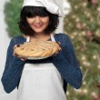 Woman Chef with Pie — Stock Photo #54631727
