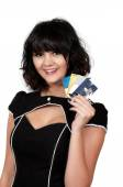 Woman Credit Cards — Stock Photo