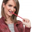 Woman Chewing Pencil — Stock Photo #59839427