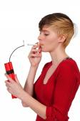 Woman smoker — Stock Photo