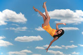 Woman Falling Through the Sky — Stock Photo