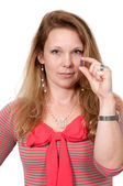 Tomar pastillas de mujer — Foto de Stock