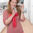 Woman with  tin can Phone — Stock Photo #69065529