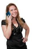 Woman talking on a cell phone — Stock Photo