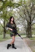 Woman Soldier — Stock Photo