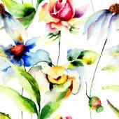 Patrones sin fisuras con flores originales — Foto de Stock