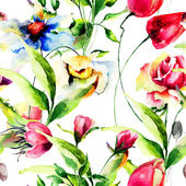 Seamless wallpaper with Stylized flower — Стоковое фото