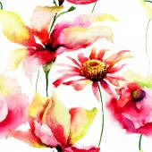 Watercolor painting of Lily and Daisy flowers — Stock Photo