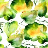 Seamless pattern of green linden leaves — Stock Photo