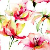 Watercolor painting of Tulips and Daisy flowers — Stockfoto