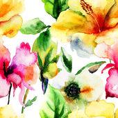 бесшовный фон с оригинальные цветы — Стоковое фото