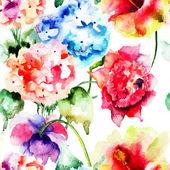 Seamless pattern with Hydrangea flowers — Stock Photo