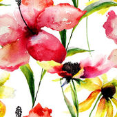 Watercolor illustration of colorful flowers — Stock Photo