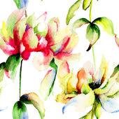 Akwarela ilustracja kwiaty piwonii — Zdjęcie stockowe