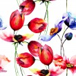 Watercolor illustration of Tulips and Poppy flowers — Стоковое фото #58953315