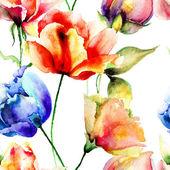Stylized seamless pattern with Tulips flowers — Stock Photo