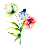 Original watercolor illustration with flowers — Stock Photo