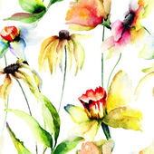 Stylized flowers watercolor illustration — Stock Photo