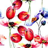 郁金香和罂粟花朵水彩插图 — 图库照片