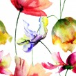 Seamless wallpaper with spring flowers — 图库照片 #61592423