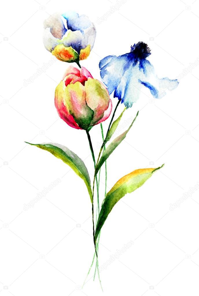 Illustrazione ad acquerello fiori stilizzati foto stock for Fiori stilizzati immagini