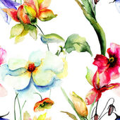 Seamless wallpaper with stylized flowers — Stock Photo