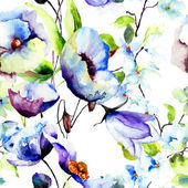 Seamless wallpaper with Beautiful Blue flowers — Stock Photo