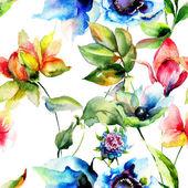Seamless pattern with Original flowers — Stock Photo