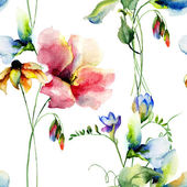 Floral seamless wallpaper — Stock Photo