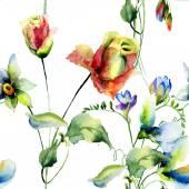 野生の花でシームレスな壁紙 — ストック写真